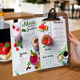 In menu nhựa - thực đơn nhựa. Bền - đẹp - chống thấm - menu - thực đơn - in menu
